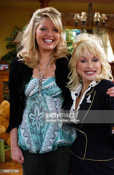 Melissa Peterman and Dolly Parton during Dolly Parton Visits the Set of Reba February 15 2005 at Fox Studios in Los Angeles California United States