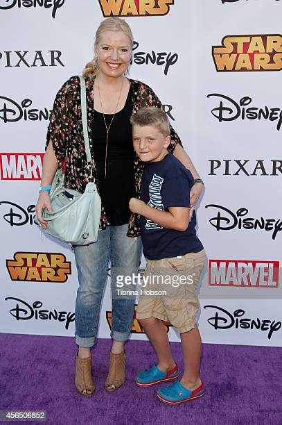Melissa Peterman and her son Riley David Brady attend the Disney's VIP Halloween event at Disney Consumer Products Campus on October 1 2014 in...