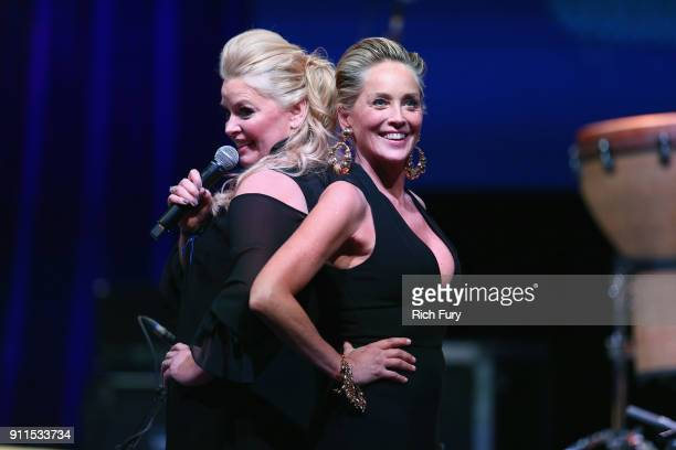 Melissa Peterman and Sharon Stone at Steven Tyler and Live Nation presents Inaugural Janie's Fund Gala GRAMMY Viewing Party at Red Studios on January...