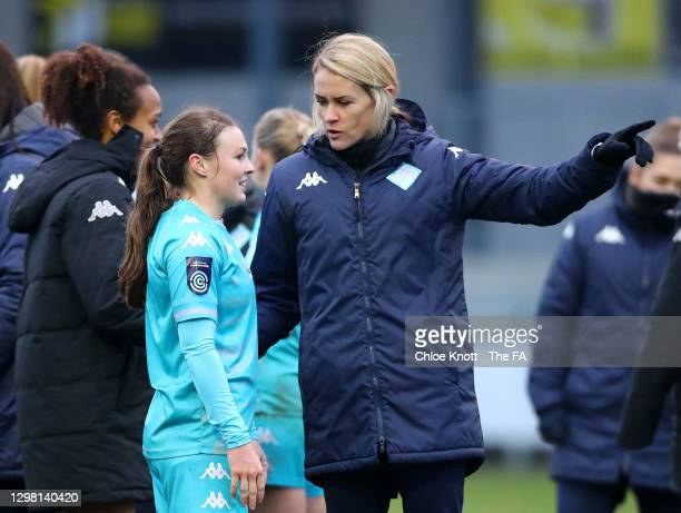 Melissa Phillips, manager of London City Lionesses gives instructions to Alli Murphy of London City Lionesses during the Barclays FA Women's...
