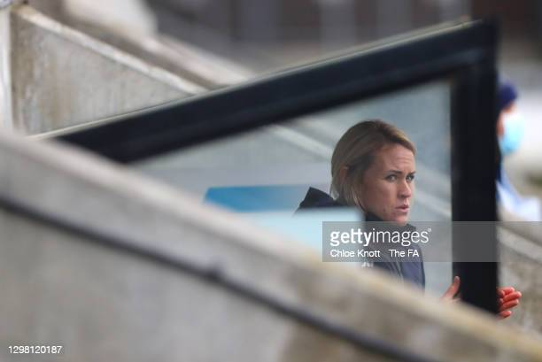 Melissa Phillips, Manager of London City Lionesses looks on ahead of the Barclays FA Women's Championship match between London City Lionesses and...