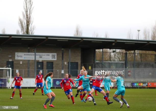 Melissa Phillips of London City and Aimee Hodgeson of Blackburn Rovers battle for possession while surrounded during the Barclays FA Women's...