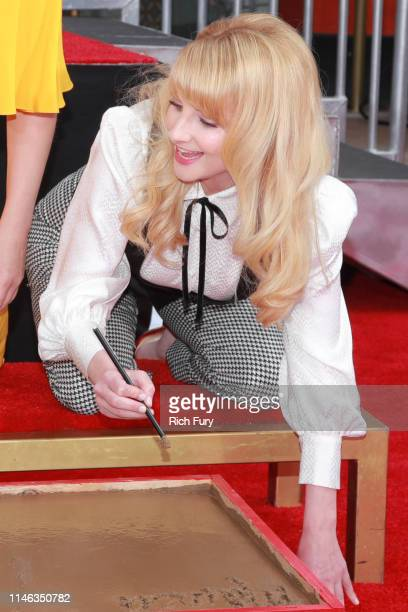Melissa Rauch from the cast of The Big Bang Theory poses during their handprint ceremony at the TCL Chinese Theatre IMAX on May 01 2019 in Hollywood...