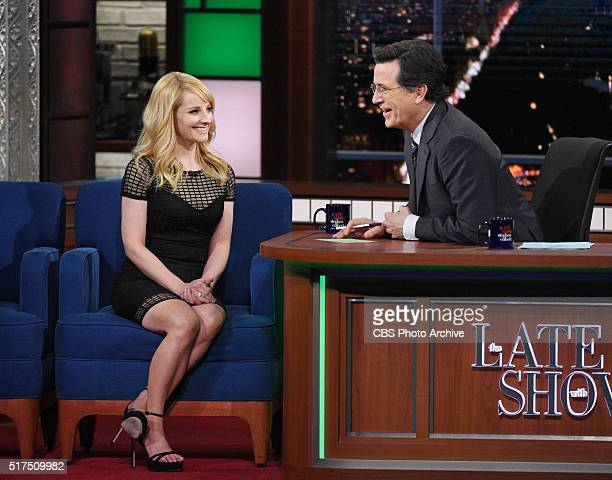 Melissa Rauch from the CBS comedy series The Big Bang Theory on The Late Show with Stephen Colbert Thursday March 17 2016 on the CBS Television...