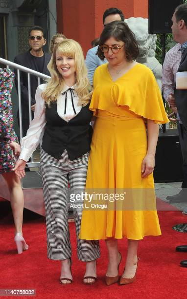 Melissa Rauch Mayim Bialik and The Cast Of The Big Bang Theory Place Their Handprints In The Cement At The TCL Chinese Theatre IMAX Forecourt held on...