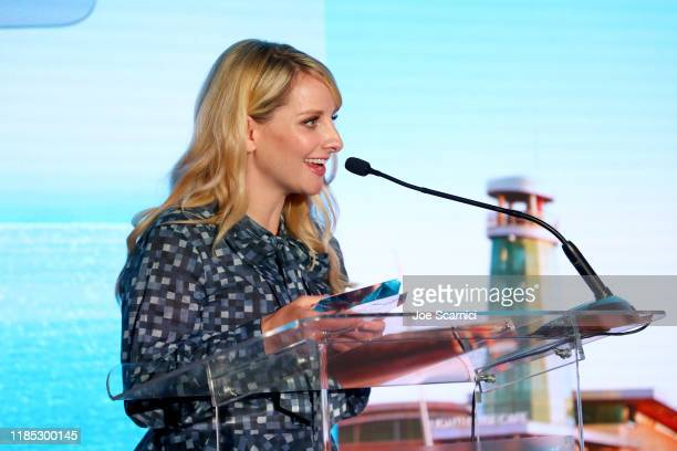 Melissa Rauch speaks onstage during the Newport Beach Film Festival Fall Honors And Variety's 10 Actors To Watch presented by Visit Newport Beach and...