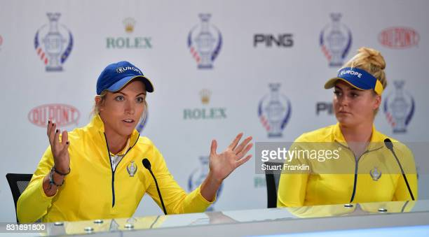 Melissa Reid and Charley Hull of Team Europe talk to the media during a press conference for The Solheim Cup at the Des Moines Country Club on August...