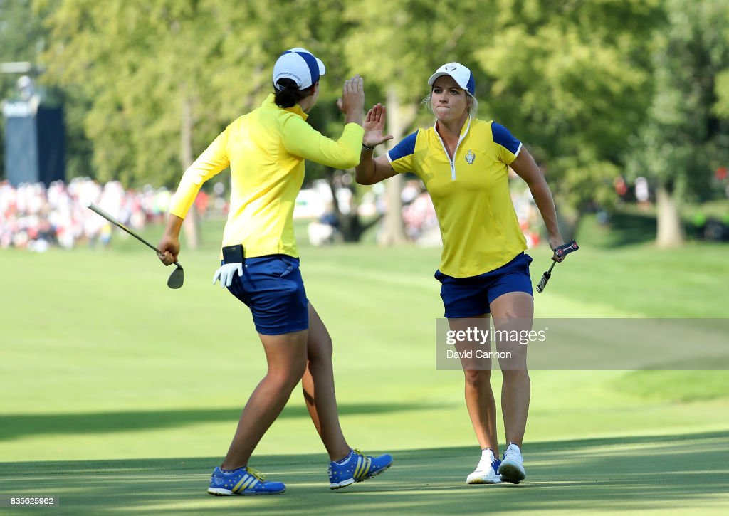 Melissa Reid of England and the European Team celebrates after she holed a birdie putt at the 16th hole with her parner Carlota Ciganda of Spain in their match against Brittany Lang and Brittany Lincicome of the United States Team during the afternoon fourball matches in the 2017 Solheim Cup at Des Moines Golf Country Club on August 19, 2017 in West Des Moines, Iowa.