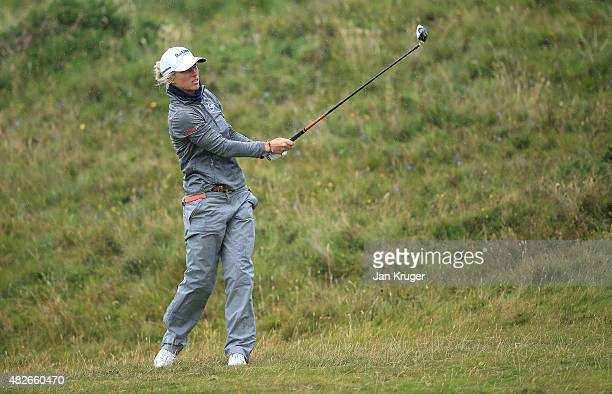 Melissa Reid of England hits her 2nd shot on the 17th hole during the Third Round of the Ricoh Women's British Open at Turnberry Golf Club on August...