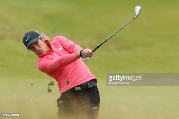 Melissa Reid of England hits her second shot on the 18th hole during the second round of the Ricoh Women's British Open at Kingsbarns Golf Links on...