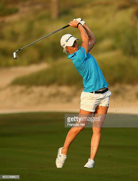 Melissa Reid of England in action during the first round of the Fatima Bint Mubarak Ladies Open at Saadiyat Beach Golf Club on November 2 2016 in Abu...