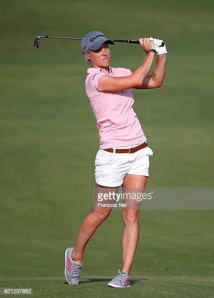 Melissa Reid of England plays her second shot on the 15th hole during the final round of the Fatima Bint Mubarak Ladies Open at Saadiyat Beach Golf...