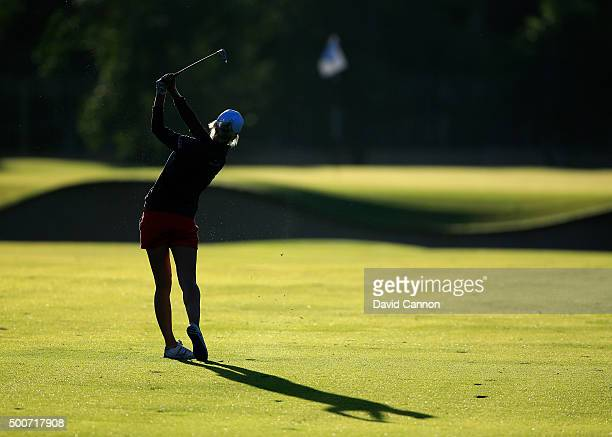 Melissa Reid of England plays her third shot on the par 5 10th hole during the second round of the 2015 Omega Dubai Ladies Masters on the Majlis...