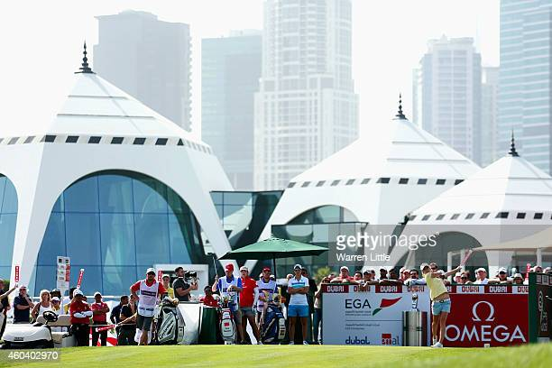 Melissa Reid of England tees off on the first hole during the final round of the Omega Dubai Ladies Masters on the Majlis Course at Emirates Golf...