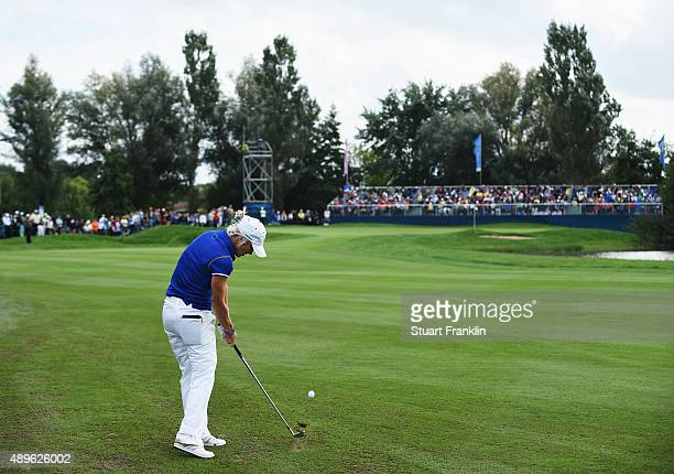 Melissa Reid of team Europe plays a shot during the singles matches of The Solheim Cup at St LeonRot Golf Club on September 20 2015 in St LeonRot...