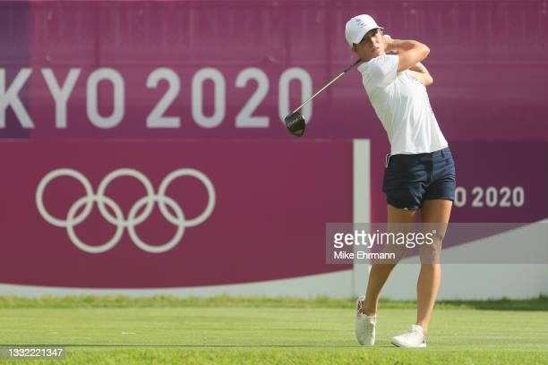 Melissa Reid of Team Great Britain plays her shot from the first tee during the first round of the Women's Individual Stroke Play on day twelve of...