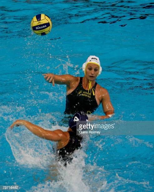 Melissa Rippon of Australia looks to pass during the Women's Quarter Final Round Water Polo match between Australia and Italy at the Melbourne Sports...