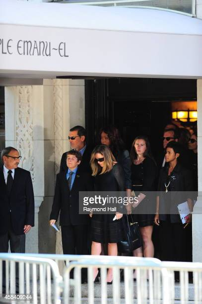 Melissa Rivers and her son Edgar Cooper Endicott attends the Joan Rivers memorial service at Temple EmanuEl on September 7 2014 in New York City