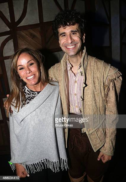 Melissa Rivers and John Ciriani pose backstage at the hit musical Something Rotten on Broadway at The St James Theater on September 12 2015 in New...
