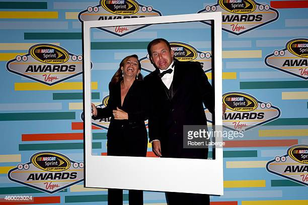 Melissa Rivers and Ryan Newman pose backstage during the 2014 NASCAR Sprint Cup Series Awards at Wynn Las Vegas on December 5 2014 in Las Vegas Nevada
