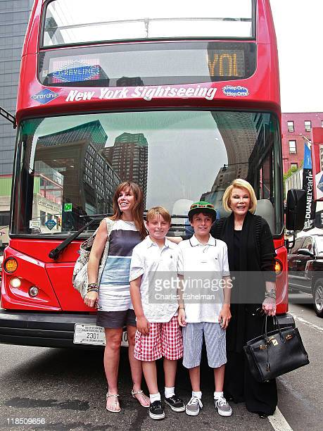 Melissa Rivers sons friend Russel son Cooper Endicott and Joan Rivers take a private Gray Line New York bus tour on July 8 2011 in New York City