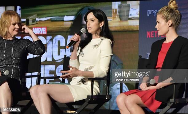 Melissa Rosenberg Krysten Ritter and Rachel Taylor speak on stage at the #NETFLIXFYSEE event for 'Jessica Jones' at Netflix FYSEE at Raleigh Studios...