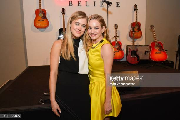 """Melissa Roxburgh and Britt Robertson attends the premiere of Lionsgate's """"I Still Believe"""" on March 07, 2020 in Hollywood, California."""