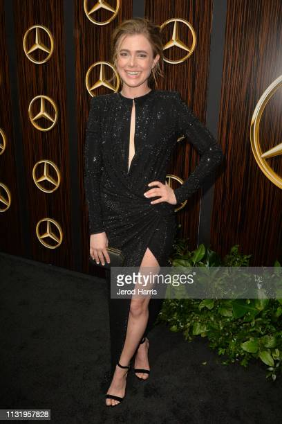 Melissa Roxburgh arrives at MercedesBenz USA's Oscars Viewing Party at Four Seasons Hotel Los Angeles at Beverly Hills on February 24 2019 in Los...