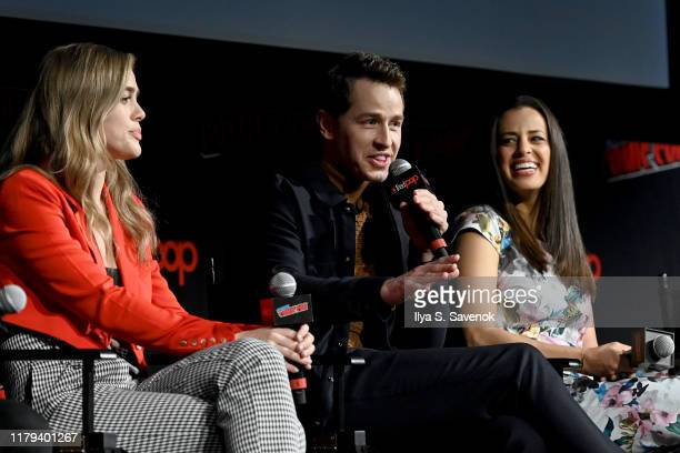 Melissa Roxburgh Josh Dallas and Athena Karkanis speak onstage during the Warner Bros Television Block featuring Manifest during New York Comic Con...