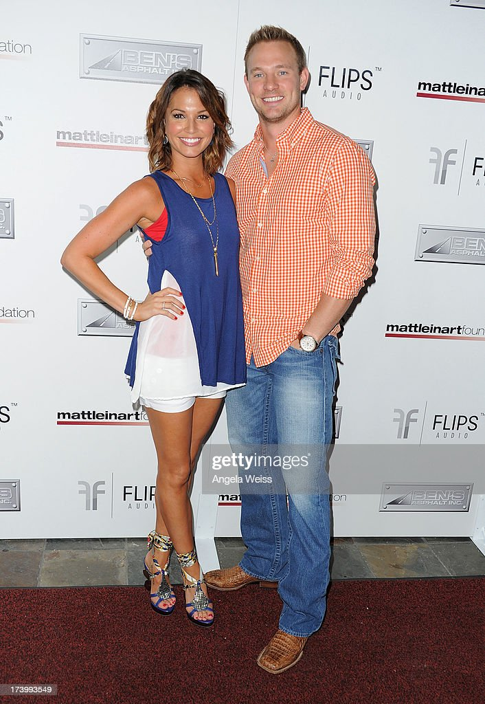 Melissa Rycroft and Tye Strickland arrive at the Matt Leinart Foundation's 7th Annual 'Celebrity Bowl' at Lucky Strike Bowling Alley on July 18, 2013 in Hollywood, California.