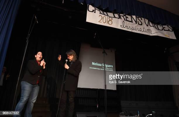Melissa Salguero and Scott Goldman on stage during 2018 Music Educator Award Winner Check Presentation on June 6 2018 in Bronx New York