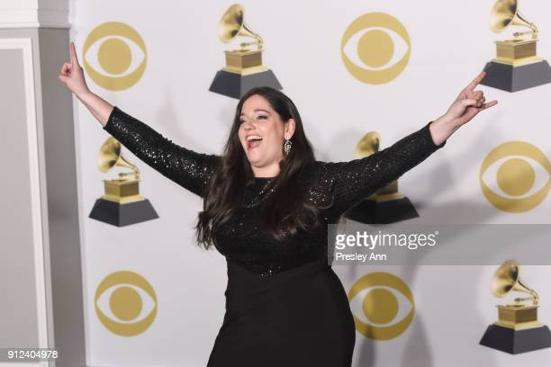 Melissa Salguero attends 60th Annual GRAMMY Awards Press Room at Madison Square Garden on January 28 2018 in New York City