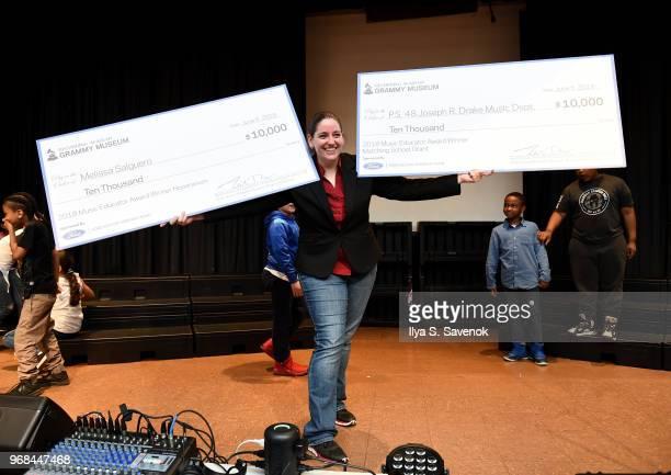 Melissa Salguero poses during 2018 Music Educator Award Winner Check Presentation on June 6 2018 in Bronx New York