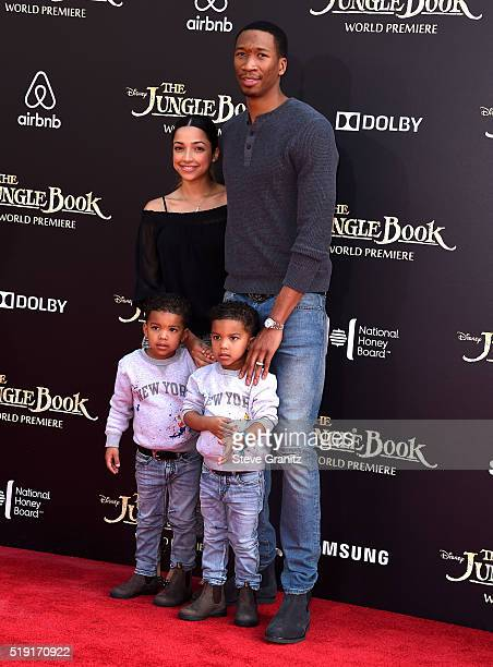 Melissa Sanchez professional basketball player Wesley Johnson with sons Wesley and Santana Johnson attend the premiere of Disney's 'The Jungle Book'...