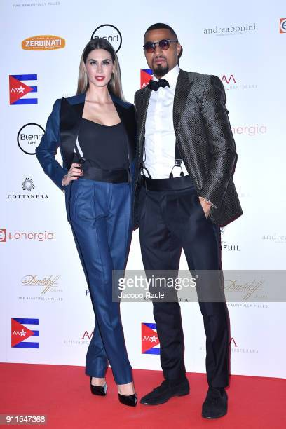 Melissa Satta and KevinPrince Boateng attend the Alessandro Martorana Party on January 28 2018 in Milan Italy