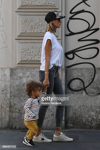 Melissa Satta and son Maddox are seen on September 21 2015 in Milan Italy