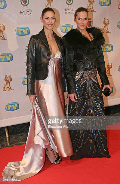 Melissa Satta and Thais Souza Wiggers arrive at the Italian TV Awards 'Telegatti' at the Auditorium Conciliazione on January 25, 2007 in Rome, Italy.