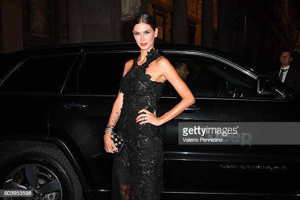 Melissa Satta arrives at the Celebrity Fight Night Gala dinner on board of Jeep Cherokee September 11 2016 in Florence Italy