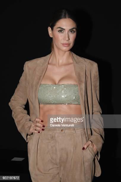 Melissa Satta attends the Alberta Ferretti show during Milan Fashion Week Fall/Winter 2018/19 on February 21 2018 in Milan Italy