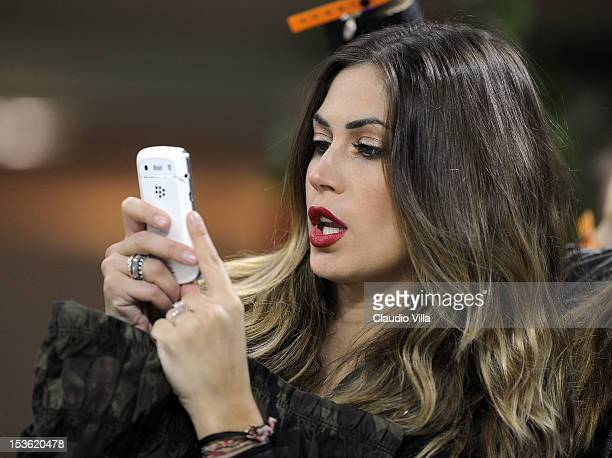 Melissa Satta attends the Serie A match between AC Milan and FC Internazionale Milano at San Siro Stadium on October 7 2012 in Milan Italy