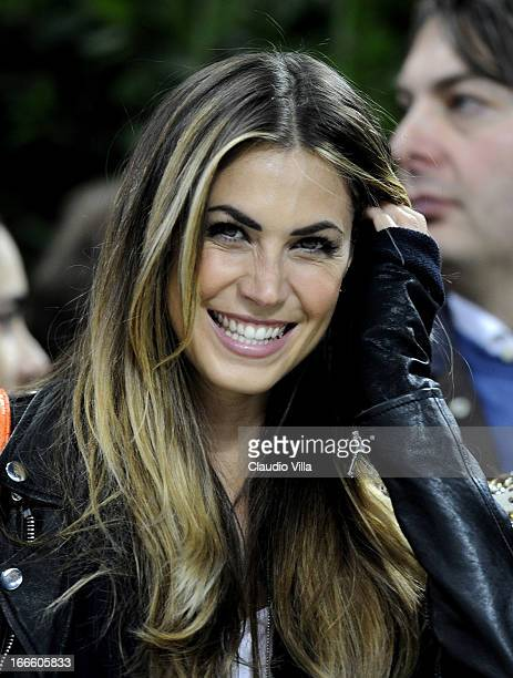Melissa Satta attends the Serie A match between AC Milan and SSC Napoli at San Siro Stadium on April 14 2013 in Milan Italy