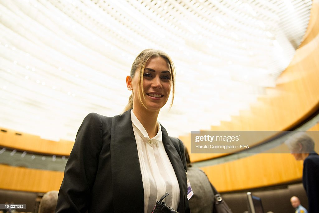 Melissa Satta, girlfriend of footballer Kevin-Prince Boateng of AC Milan, looks on during the discussion panel on the International Day for the Elimination of Racial Discrimination at United Nations Office in Geneva on March 21, 2013 in Geneva, Switzerland. On the United Nations' (UN) International Day for the Elimination of Racial Discrimination, the Office of the High Commissioner for Human Rights (OHCHR) see today as a unique opportunity to celebrate diversity and urged all sportswomen and sportsmen, sports authorities and fans to take decisive action against intolerance and racism in sports and celebrate human achievement and excellence beyond the narrow boundaries of ethnicity, race or nationality.