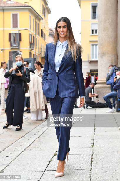 Melissa Satta is seen arriving at the Max Mara fashion show during the Milan Women's Fashion Week on September 24 2020 in Milan Italy