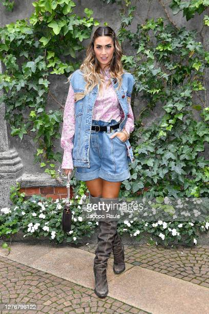 Melissa Satta is seen arriving at the Philosophy fashion show during the Milan Women's Fashion Week on September 26 2020 in Milan Italy