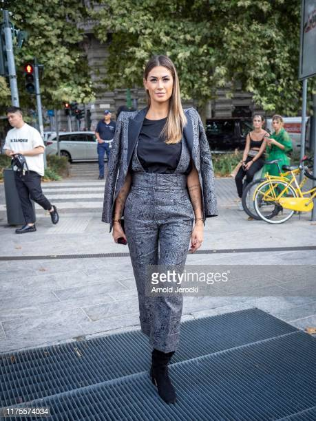 Melissa Satta is seen during the Milan Fashion Week Spring/Summer 2020 on September 18 2019 in Milan Italy