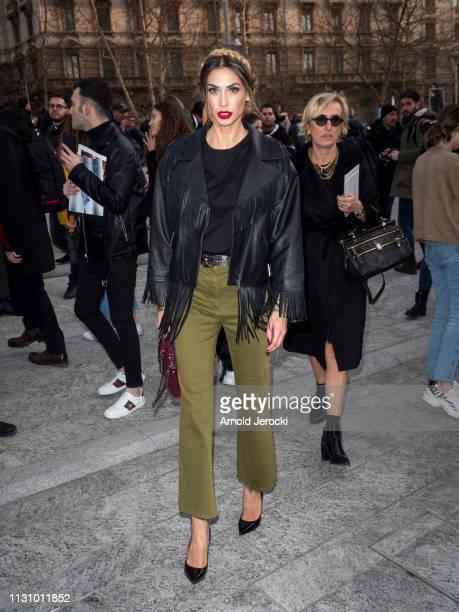 Melissa Satta is seen on Day 1 Milan Fashion Week Autumn/Winter 2019/20 on February 20 2019 in Milan Italy