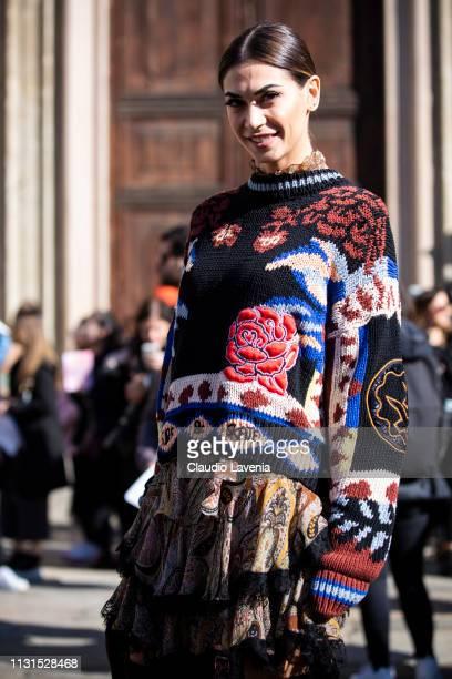 Melissa Satta is seen outside Etro on Day 3 Milan Fashion Week Autumn/Winter 2019/20 on February 22 2019 in Milan Italy
