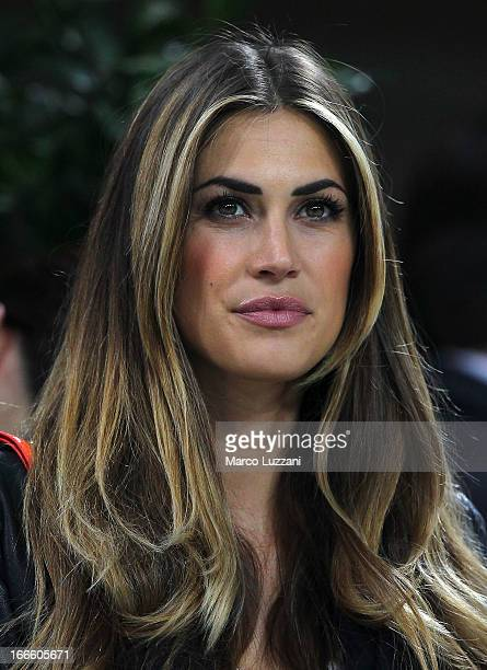 Melissa Satta looks on before the Serie A match between AC Milan and SSC Napoli at San Siro Stadium on April 14 2013 in Milan Italy