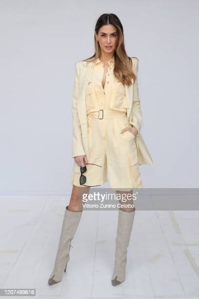 Melissa Satta, wearing Max Mara, attends the Max Mara show during Milan Fashion Week Fall/Winter 2020/2021 on February 20, 2020 in Milan, Italy.