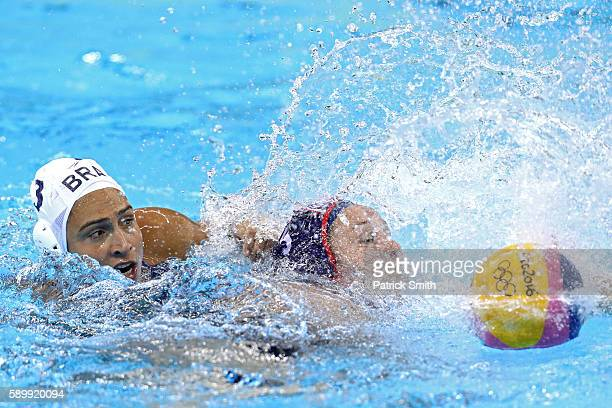 Melissa Seidemann of United States and Marina Zablith of Brazil battle for the ball on Day 10 of the 2016 Rio Olympics at Olympic Aquatics Stadium...